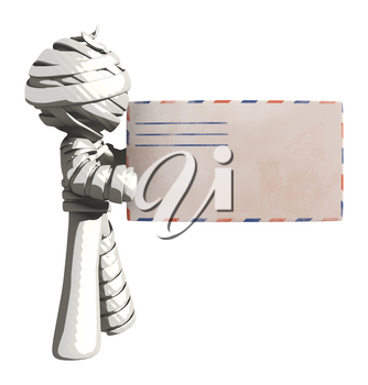 Mummy or Personal Injury Concept Holding Large Envelope