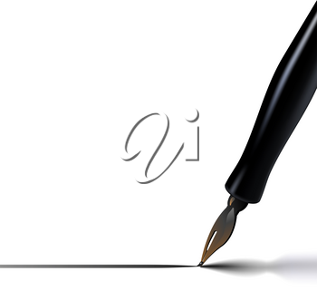A vector illustration of a calligraphy pen drawing a line with ink, casting a soft shadow.