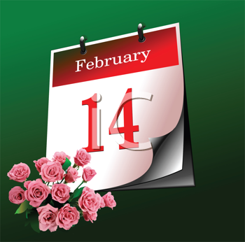 Royalty Free Clipart Image of a Feb. 14 Calendar Page