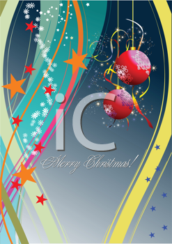 Royalty Free Clipart Image of a Christmas Greeting With Hanging Ornaments
