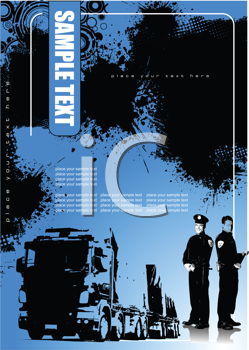 Royalty Free Clipart Image of a Truck and Two Police Officers on a Grunge Blue Backgroudn