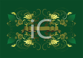 Royalty Free Clipart Image of a Green Background With Gold Flowers