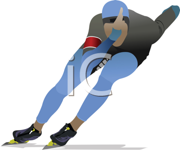 Royalty Free Clipart Image of a Speed Skater in Blue