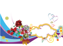 Royalty Free Clipart Image of a Romantic Design With Flowers and Hearts