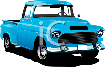 Old blue pickup with badges removed. Vector illustration