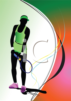 Poster of Woman Tennis player. Colored Vector illustration for designers