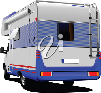 Isolated camper van on white background