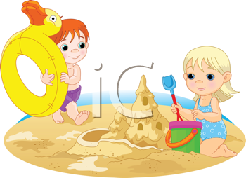 Royalty Free Clipart Image of a Little Girl and Boy Playing in the Sand