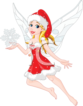 Royalty Free Clipart Image of a Flying Christmas Fairy Holding a Snowflake