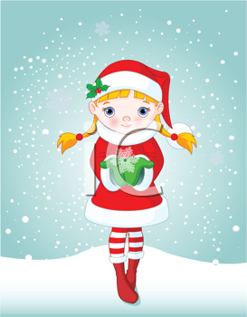 Royalty Free Clipart Image of a Girl Holding a Snowflake in the Snow