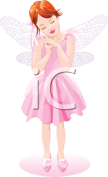 Royalty Free Clipart Image of a Pretty Pink Fairy