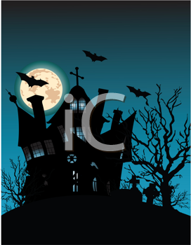 Royalty Free Clipart Image of a a Haunted House on Top of a Hill