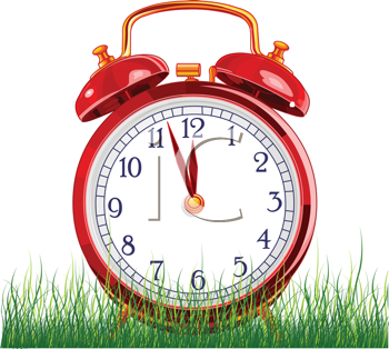 Royalty Free Clipart Image of a Vintage Alarm Clock in Green Grass