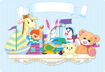 Royalty Free Clipart Image of a Shelf Full of Baby Toys