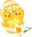 Royalty Free Clipart Image of Two Chickens Hatched From One Egg