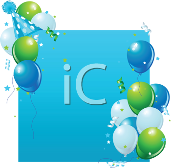 Royalty Free Clipart Image of a Blue Card With Balloons