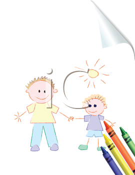 Royalty Free Clipart Image of a Childish Drawing of a Father and Son