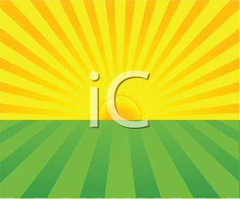Royalty Free Clipart Image of a Sunrise Background in Yellow and Green