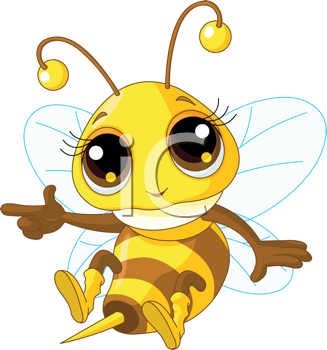 Royalty Free Clipart Image of a Bee Pointing