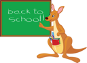Royalty Free Clipart Image of a Kangaroo Pointing to a Blackboard