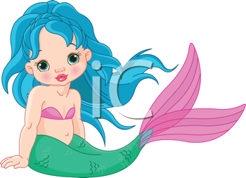 Illustration of a cute baby mermaid girl