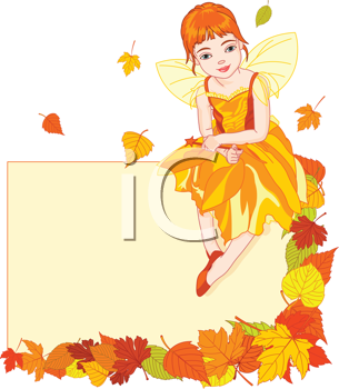 Thanksgiving (autumn) fairy sitting on place card. All objects are separate groups