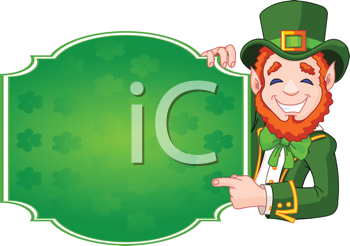 Great illustration of a cartoon St. Patrick's Day Lucky Leprechaun holding sign