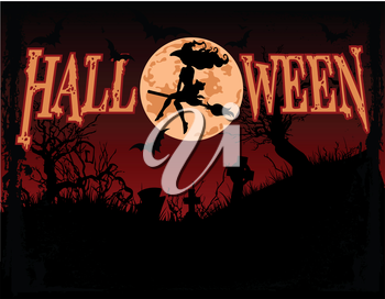 Royalty Free Clipart Image of a Halloween Background With a Witch