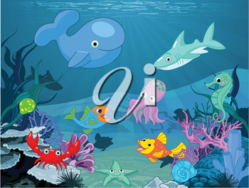 Illustration background of an underwater life