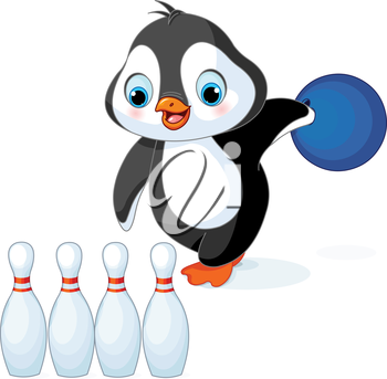 Illustration of cute penguin plays bowling