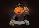Royalty Free Clipart Image of a Jack-o-Lantern Scarecrows