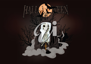 Royalty Free Clipart Image of a Halloween Background With a Scary Nun