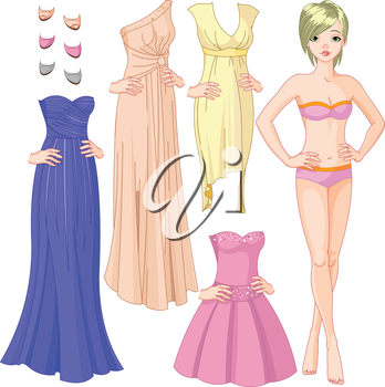 Collection of paper doll with different evening dresses