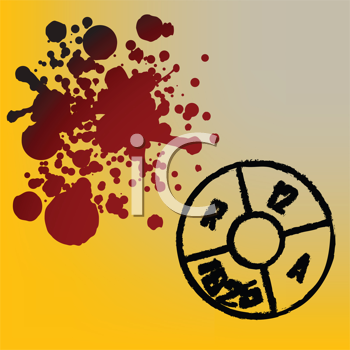 Royalty Free Clipart Image of a Grunge Background With a Bullet Headstamp and Blood Drops