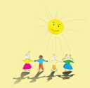 Royalty Free Clipart Image of Kids Playing in the Sun