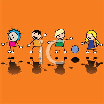 Royalty Free Clipart Image of Little Children Playing
