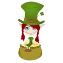 Happy little Leprechaun enjoying pot of gold