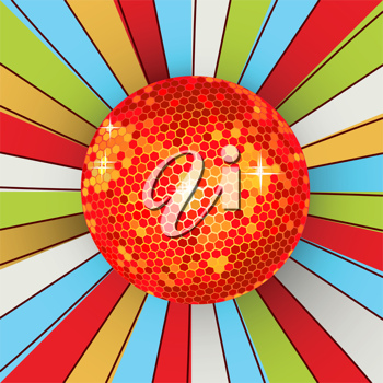 Abstract retro background with shining disco ball. Graphic art