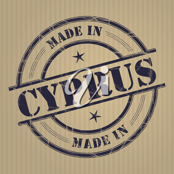 Made in Cyprus grunge rubber stamp