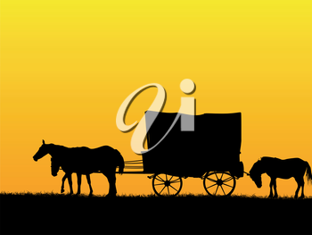 Western stage coach wagon and horses on the prairie