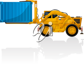 Heavy forklift with container over white background