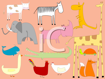 Royalty Free Clipart Image of a Collection of Cartoon Animal Drawings