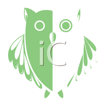 Royalty Free Clipart Image of a Green and White Owl