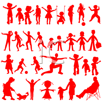 peoples red silhouettes isolated on white background, abstract art illustration