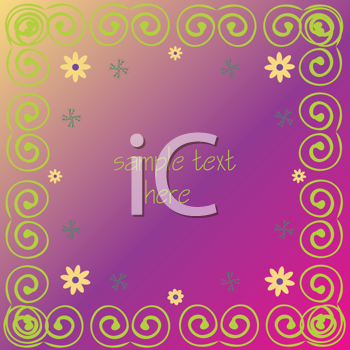 Royalty Free Clipart Image of a Swirl Frame With Flowers