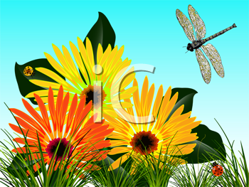 bugs and flowers card; abstract vector art illustration; image contains transparency