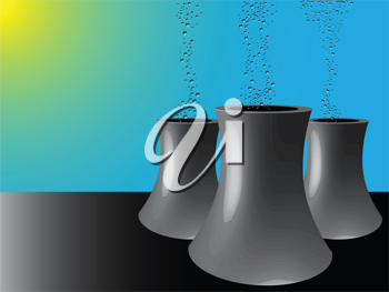 cooling towers, abstract vector art illustration