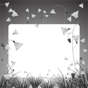 monochromatic flowers and grass banner, abstract vector art illustration