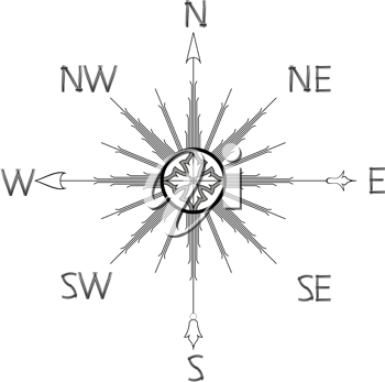 wind rose compass silhouette against white background, abstract vector art illustration