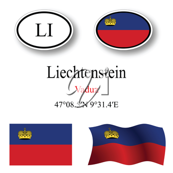 liechtenstein icons set against white background, abstract vector art illustration, image contains transparency